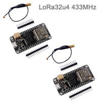 2 комплекта LoRa32u4 RA02 RA-02 433 МГц Lora модуль макетная плата IOT с антенной, дальний Уровень 1 км LiPo Atmega328 SX1278 DIY0031