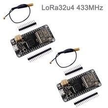 2 juegos LoRa32u4 RA02 RA 02 433MHz Lora Placa de desarrollo de módulo IOT con antena, Largo Alcance 1KM LiPo Atmega328 SX1278 DIY0031