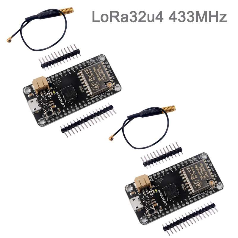 2Sets LoRa32u4 433MHz Lora Module Development Board with Antenna, RA02 RA-02 Long Range 1KM LiPo Atmega328 SX1278 DIY0031