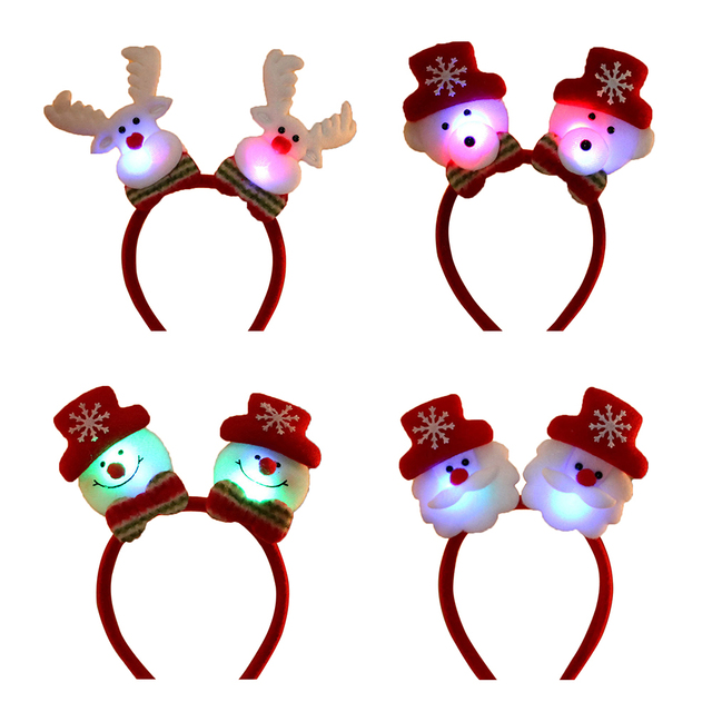 76a4594a0d7 Happy New Year Merry Christmas Kids LED Light Santa Snowman Elf Red Hair  Band Headband Hat Christmas Cosplay Party Decoration