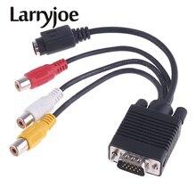 Larryjoe VGA to S 비디오 3 RCA Female Converter PC 용 컴포지트 AV TV 출력 어댑터 케이블 노트북 태블릿 노트북