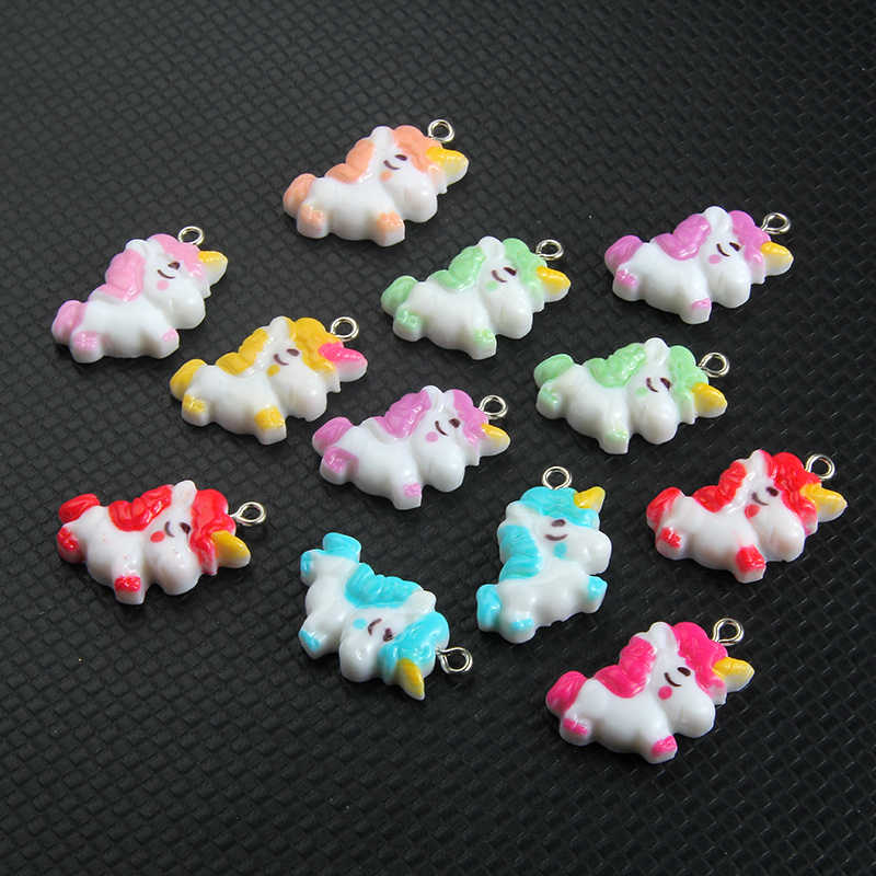 10pcs Mixed Color Resin Unicorn Charms Pendant Woman Girls Cartoon Anime Necklace Bracelet DIY Making 25*15MM