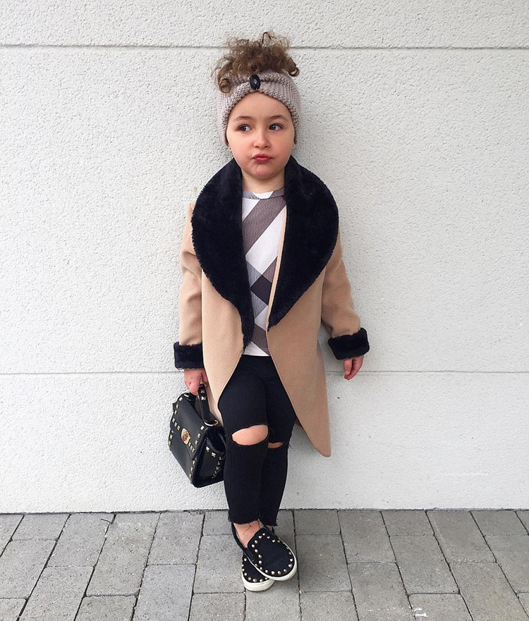 2019 Little girls Wool   coat   Jackets patchworked Fur turn-  down   collar Princess Winter   Coats   Baby Girls Trench Full Sleeve Clothes
