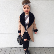 2019 Little girls Woolen Jackets patchworked Fur turn-down collar Princess Winte