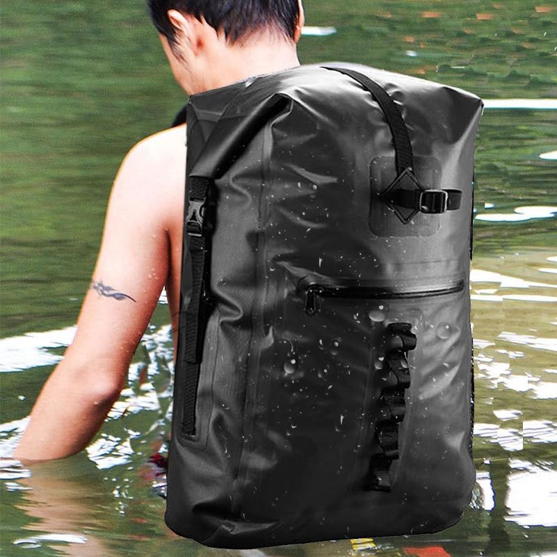 32L al aire libre río Trekking bolsa doble correas de hombro Paquete de agua natación mochila bolsas a prueba de agua para la deriva kayak - 5