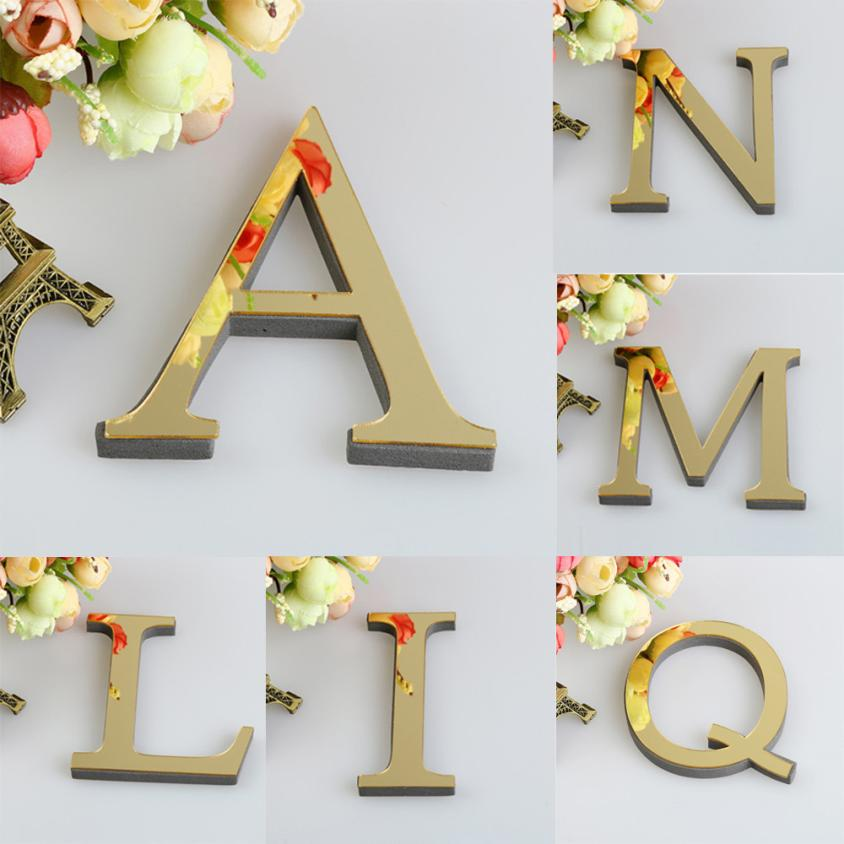 1PCS 26 English Letters DIY 3D Mirror Acrylic Wall Sticker Decals Surface Modern Home Decor Wall Art Mural Fumiture Stickers Nibbler