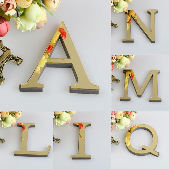 1PCS 26 English Letters DIY 3D Mirror Acrylic Wall Sticker Decals Surface Modern Home Decor Wall Art Mural Fumiture Stickers