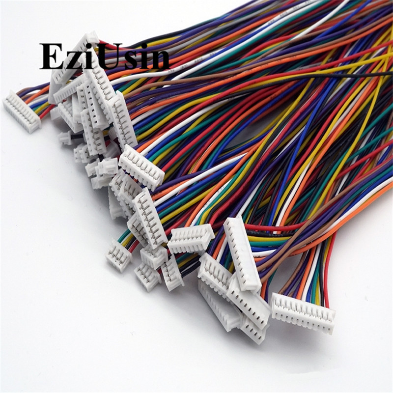 цена на 1.25mm Female Connector Terminal Cable 10cm 20cm 30cm 1.25 Connector 2p 3p 4p 6p 8p 10p 12p Single / Double Head