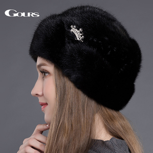 Image 3 - Gours Womens Fur Hats Whole Real Mink Fur Hats with Crown Luxury Fashion Russian Winter Thick Warm High Quality Cap New Arrival
