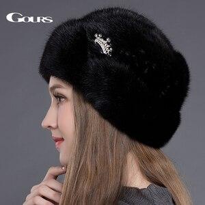 Image 3 - Женская меховая шапка Gours, черная Толстая теплая шапка с короной из натурального меха норки на зиму 2019