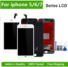 Preto/branco assembléia display lcd digitador para iphone 6s aaa qualidade tela de toque lcd para iphone 6 7 5S nenhum pixel morto com presentes