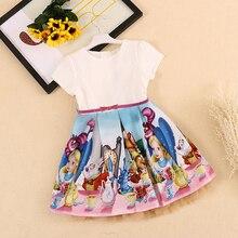 Bongawan Платье для маленьких девочек г. брендовые летние Повседневное Стиль снег белый Принт платья принцесс для вечерние Одежда для маленьких девочек От 2 до 10 лет