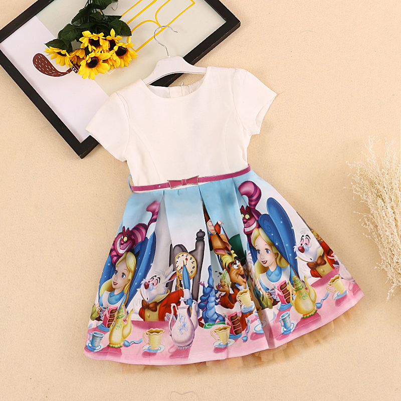 Bongawan Baby Girls Dress 2018 Marca Verano Estilo Casual Snow White Print Princess Dresses For Party Toddler Girls Ropa 2-10Y