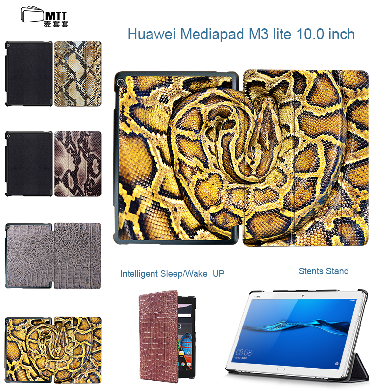 MTT New Snakeskin Painted Leather Stand Cover for Huawei Mediapad M3 Lite 10 BAH-W09 BAH-AL00 10.1 Tablet smart Protective Case smart ultra stand cover case for 2017 huawei mediapad m3 lite 10 tablet for bah w09 bah al00 10 tablet free gift