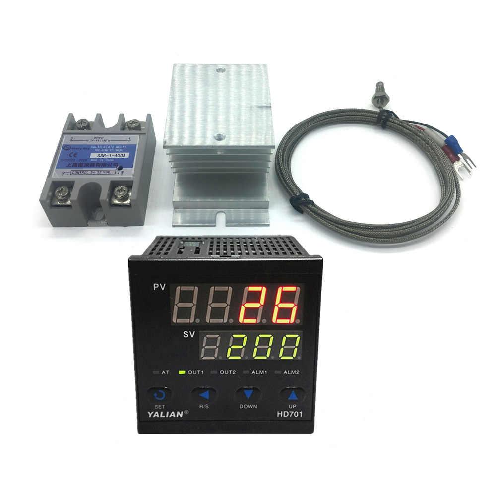 100 V-240 V регулятор температуры pid регулятор температуры 220V Макс температура 1372 градусов + теплоотвод + 2M K регулятор температуры с термопарным + 40A SSR