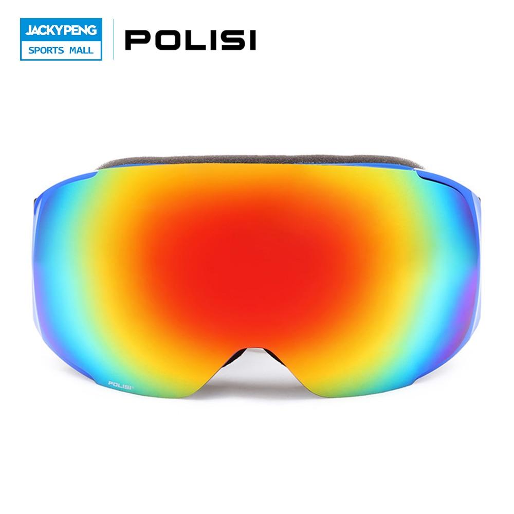 ФОТО POLISI Men Women Snow Goggles Outdoor Sport Skiing Glasses Snowboard Snowboarding Eyewear UV400 afas Motocross Goggles