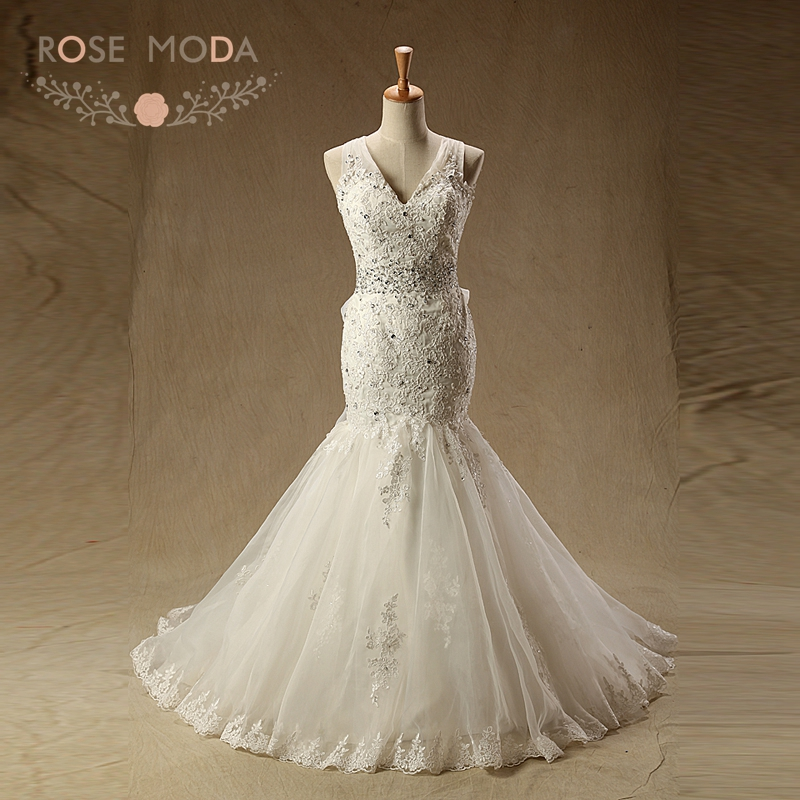 Hot Sale Rose Moda V Neck Mermaid Wedding Dress Criss Cross Back ...