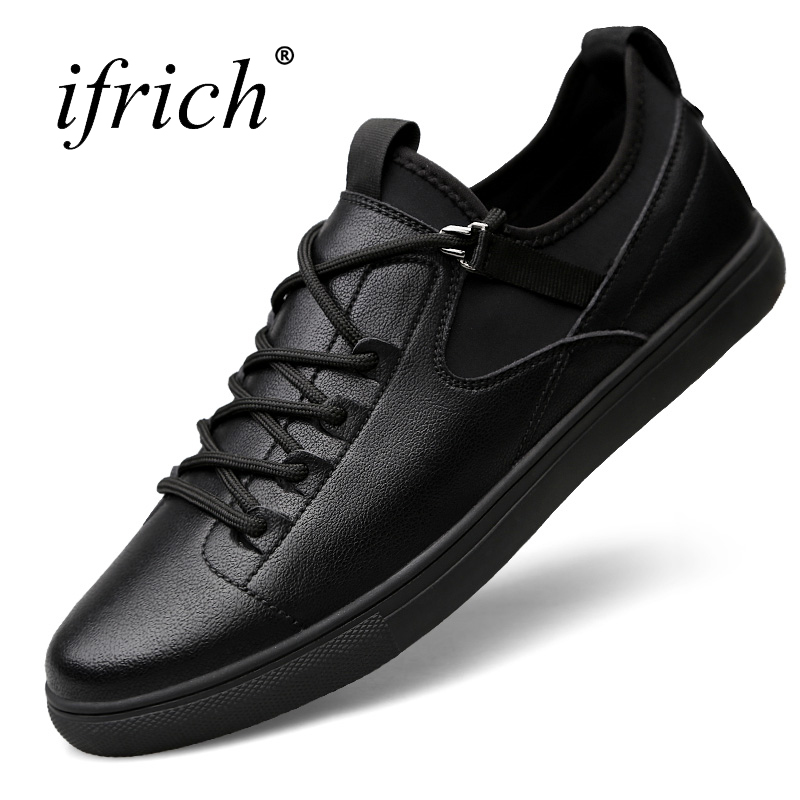 Ifrich New Arrival Leather Casual Shoes Men Lace Up Low Top Sneakers Black Solid Footwear Male Leather Rubber Bottom Mens Flats black sequins embellished open back lace up top
