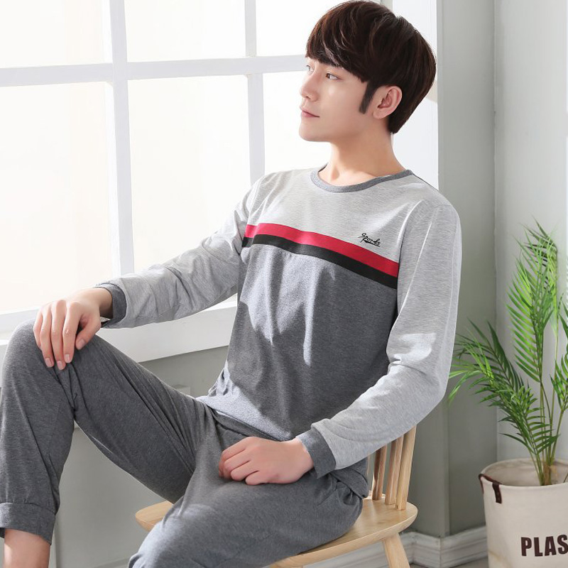 Yidanna New Men Pajamas Set Cotton Nightwear Male Sleepwear Casual Long Sleeved Nighties Autumn Pyjamas Suit Plus Size Nightwear