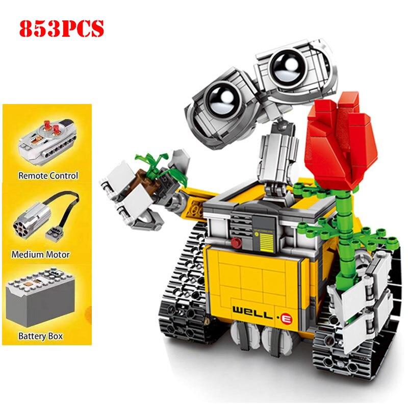 853 sztuk pilot zdalnego sterowania WALL E Robot rysunek klocki kompatybilny Legoed Technic RC stwórcy pomysł cegły zabawki dla dzieci prezent w Klocki od Zabawki i hobby na  Grupa 1