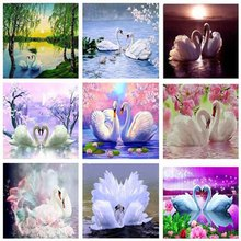 Swan Diamond Mosaic Animal 5D Diy Painting Crystal Picture Of The Sequins Embroidery Pattern Painting-Rhinestone
