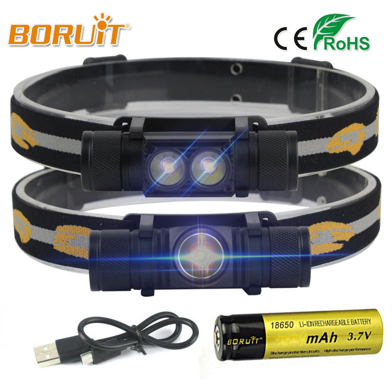 BORUIT 1000LM 3W L2 LED Headlight Mini White Light Flashlight 18650 Battery Headlamp Forehead For Camping Fishing Hunting