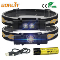BORUIT Brand 1000LM 3W L2 LED Headlight Mini White Light Head Lamp Flashlight 18650 Battery Headlamp