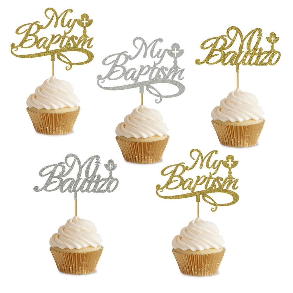 Mi Bautizo Silver Cake Topper Glittered Communion Party Supply Cake Decoration