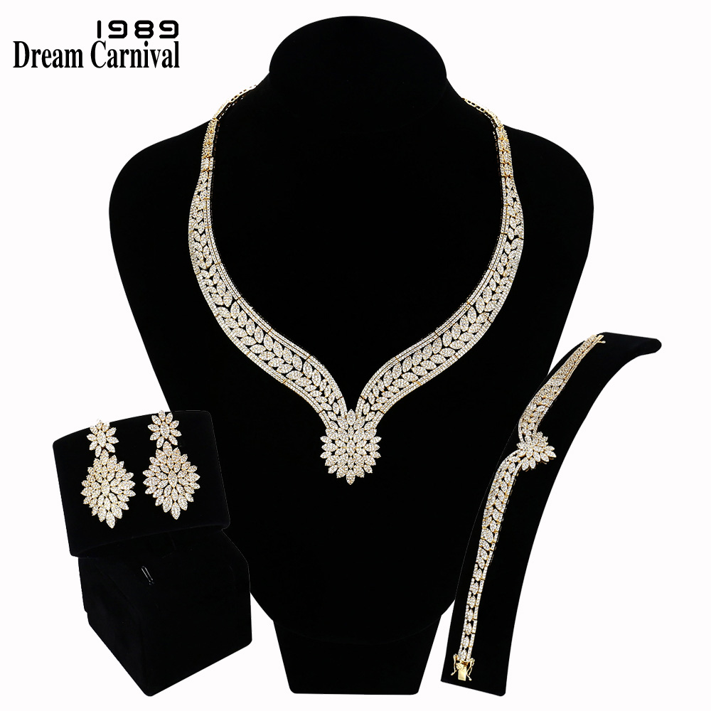 DreamCarnival 1989 Brand New Elegant Flower Bridal Jewelry Sets Wedding For Women Rhodium Or Gold Color Clear White CZ SN06628(China)