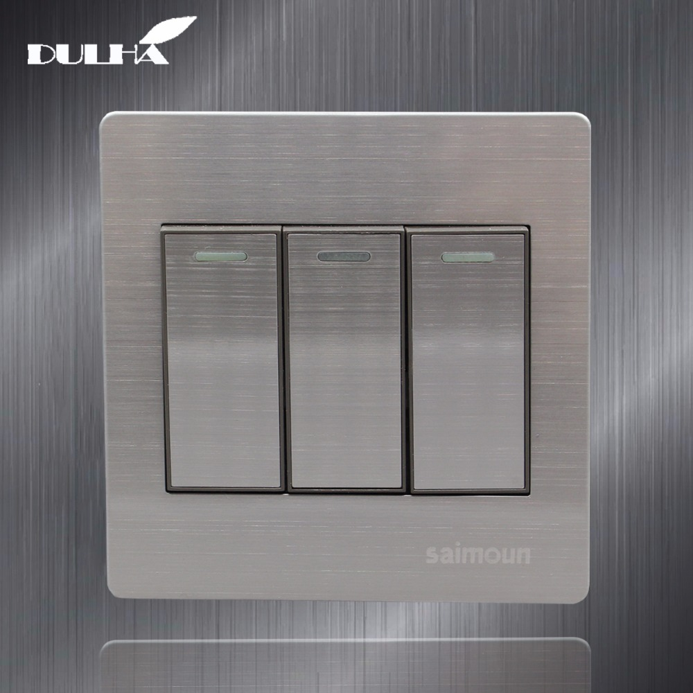 Luxury Satin Metal 3 Gang 1 Way Light Wall Switch 10A 110~250V 220V Electrical Push Button Lamp Switches Stainless Steel Panel
