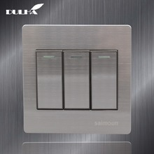 цена на Luxury Satin Metal 3 Gang 1 Way Light Wall Switch 10A 110~250V 220V Electrical Push Button Lamp Switches Stainless steel Panel
