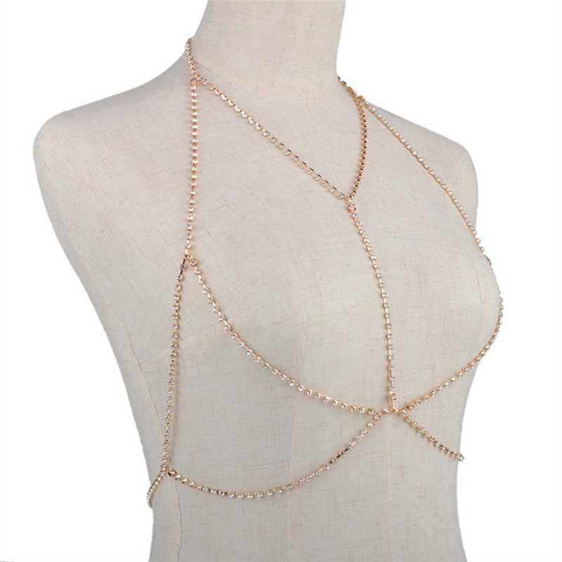 Romad New Bikini Body Necklaces For Women Exclusive Heavy Custom Summer Sexy Style Metal Chain Breast Bra Hollow Statement R5