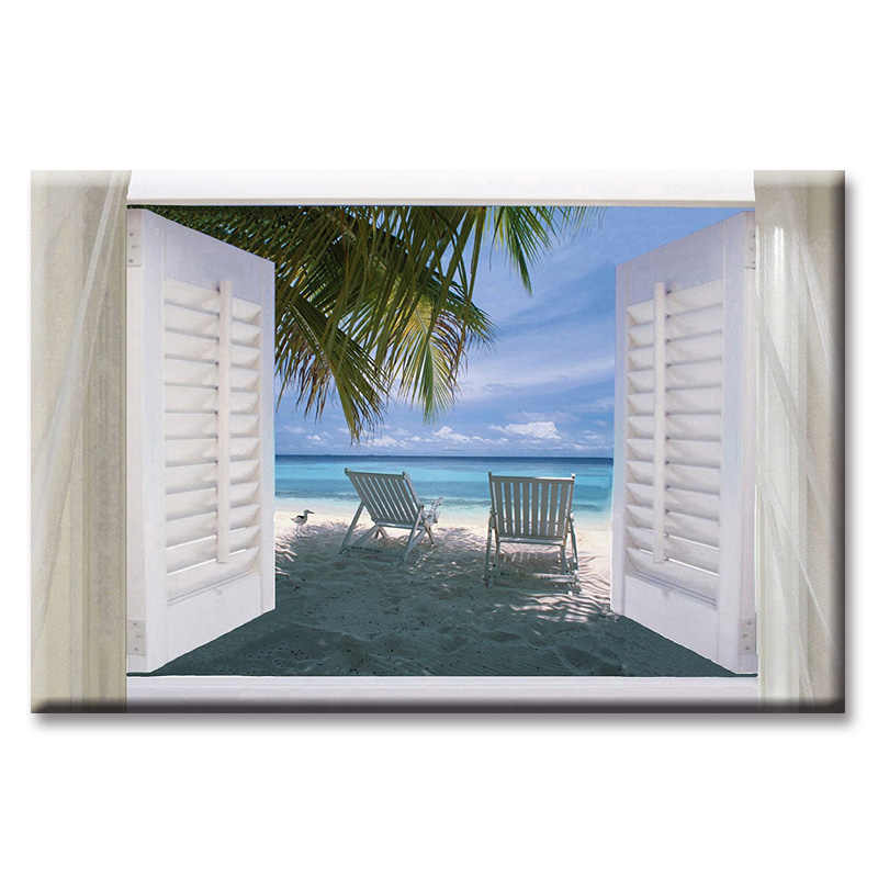 Window beach sea view series Wall Art Oil Painting On Canvas Printed Painting Pictures Decor painting large living room Wholesal