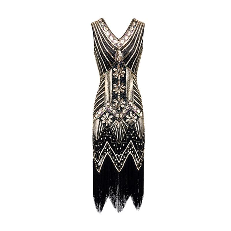 e4d832b3785d Women Vintage Dresses 1920s Gastby Sequin Art Nouveau Embellished Fringed  Flapper Dress -in Dresses from Women s Clothing on Aliexpress.com