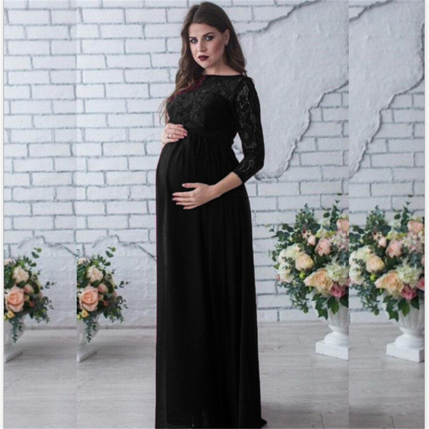 6b052b0e51510 Maternity Women Wedding Dress Red Wine Evening Party Lace Elegant Pregnancy  Long Loose Clothes Pregnant Woman Gown Dresses S~2XL-in Dresses from Mother  ...