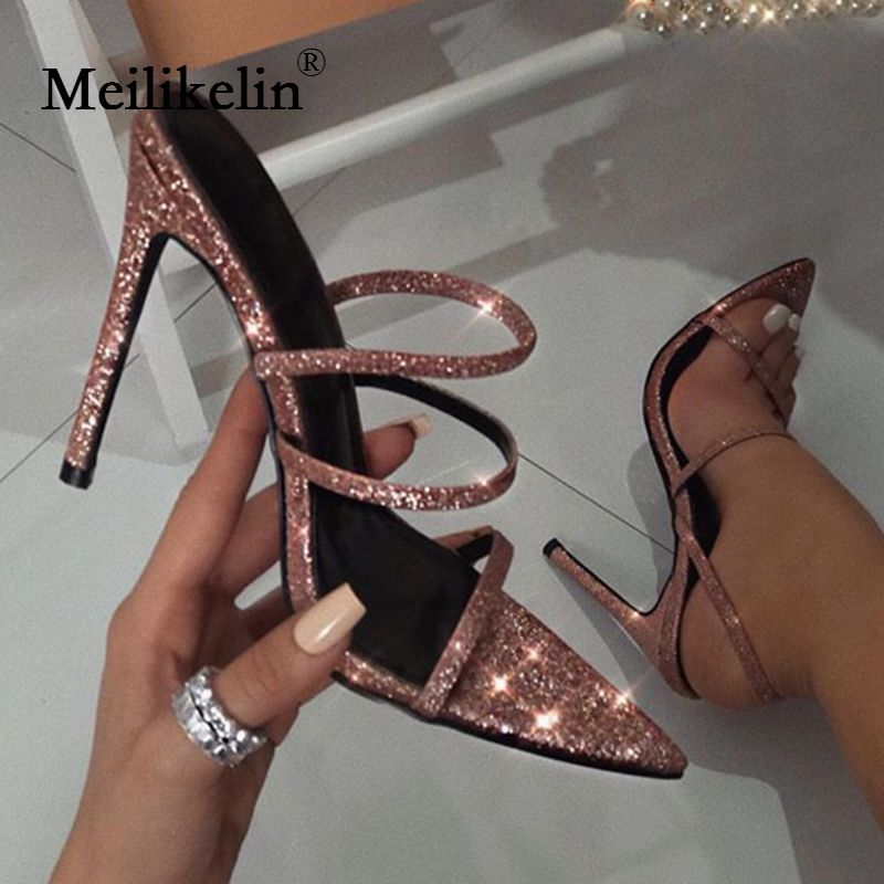 2019 women's shoes stilettos high-heeled shoes woman sandals pumps summer hollow slides ladies pointy peep toed sandalias mujer