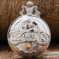 Hot Steampunk Relógio de Bolso com Colar de Corrente Da Motocicleta Moto Hunter Completa Dial Branco Steampunk Presente Da Lembrança