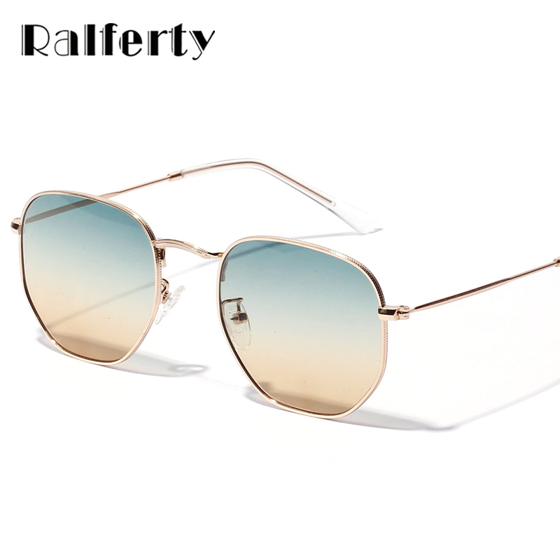 Ralferty Chic Ladies Square Round Solglasögon Kvinnor Gradient Sun Glasses For Woman Gold Metal Frame Glasögon Shades X1314
