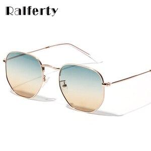 Ralferty Chic Ladies Square Round Sunglasses Women Gradient Sun Glasses For Woman Gold Metal Frame Eyewear Female Shades X1314