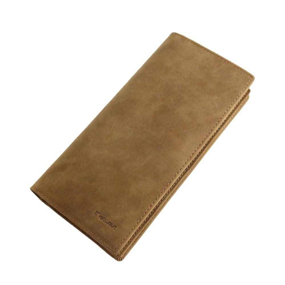 a5ab8b311e49 Высокое качество Винтаж корова натуральная Crazy Horse кожа для мужчин  женские кошельки длинный мужской кошелек телефон