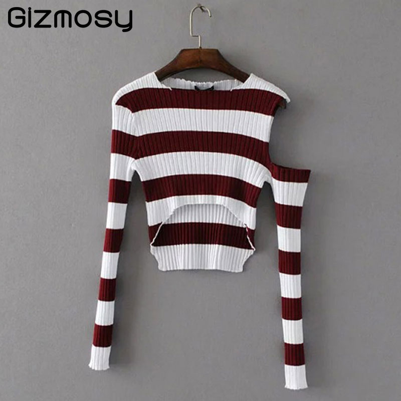 New Sweater Women Knitted Long Sleeve Casual Christmas Sweater Off Shoulder Female jumper Striped Sweater Pullover poncho SY2349