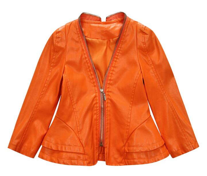 Baby girls spring Coat New 2018 autumn Kids PU Leather Jacket Fashion Solid Childrens Clothes Outwears