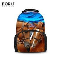 FORUDESIGNS Brand Women Men Canvas Backpack 3D Horse Animal Student School Backpacks Traveling Bagpack Rucksack Mochila