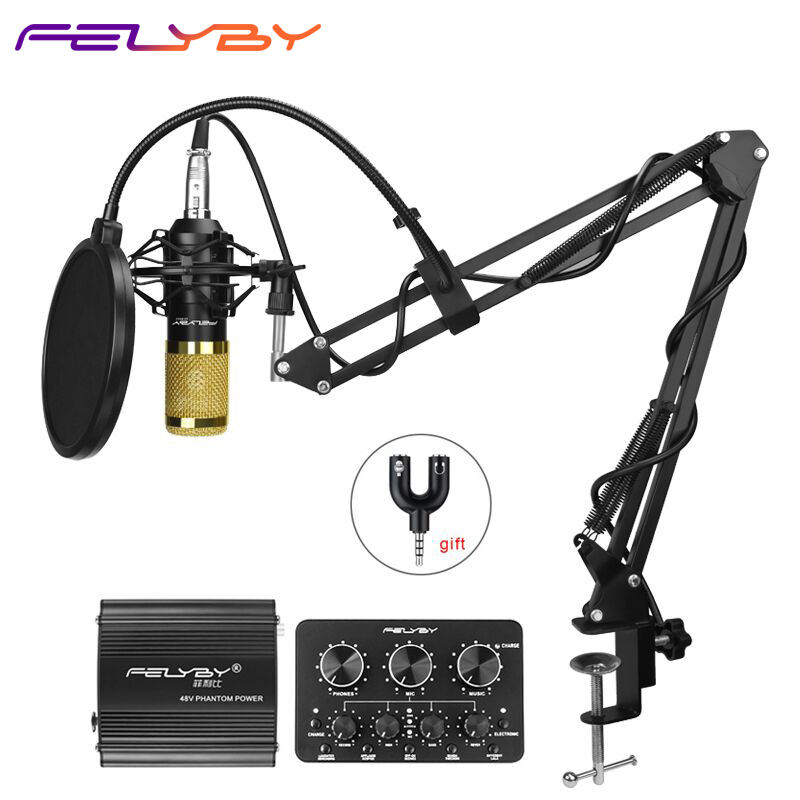 FELYBY profession bm 800 condenser microphone for computer karaoke mic bm800 Phantom power pop filter Multi-function sound card