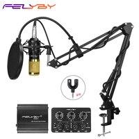 FELYBY bm 800 Profession Condenser Microphone For Computer Karaoke Video Studio Recording Mic Filter Phantom Power Sound Card