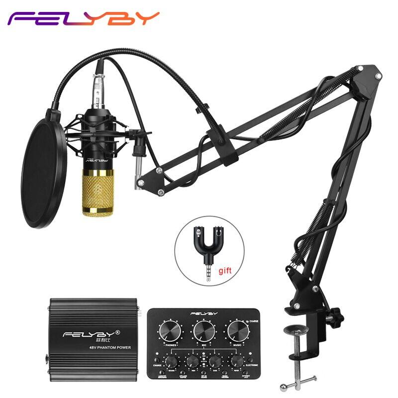 FELYBY professione bm 800 microfono a condensatore per il computer karaoke mic bm800 Phantom power pop filtro Multi-funzione di scheda audio