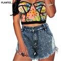 Моде Джинсовые Короткие для Женщин 2017 Весна Лето Sexy Hot брюки Высокая Талия Карман Roupas Feminina Новые Отверстия Кисточкой Короткие брюки