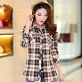 New Fashion Shirt Ladies Casual Button Turn-down Collar Plaids Checks Cotton Shirts Women Long Sleeve Slim Tops Blouse WST2