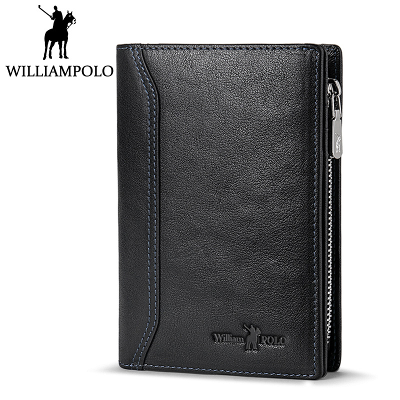 WILLIAMPOLO Coin Pocket Wallet Men Leather Short Bifold Purse 2018 New Design Wallet For Male Black Pocket Purse Husband Gift williampolo metal mini wallet men leather slim bifold purse pouch front pocket real leather purse short small wallet male pl189