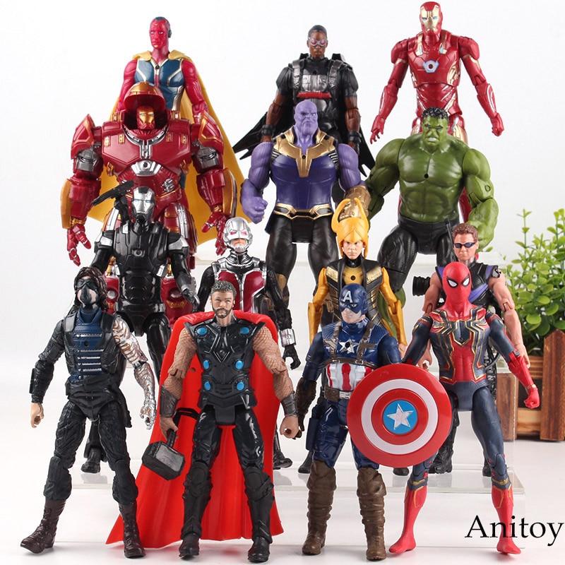 Marvel Infinity War Avengers Thanos Thor Hulk Iron Man Captain America Spiderman Loki Vision Falcon Hulkbuster PVC Avengers jouets